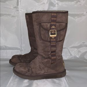Brown Leather Ugg Boots w/ Gold Buckle Side Pocket